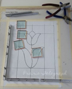 Brenda's Tulip panel includes three colours of glass and four square bevels | Prairie Telegraph