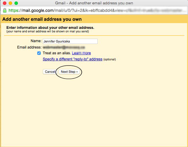 how to add a gmail email address to domain