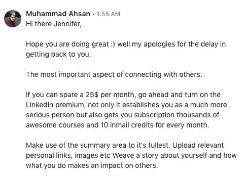 Muhammad Ahsan says LinkedIn premium is worth the investment. #LinkedInnetworking